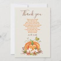 Rustic Pumpkin thank you Rustic Fall Baby shower