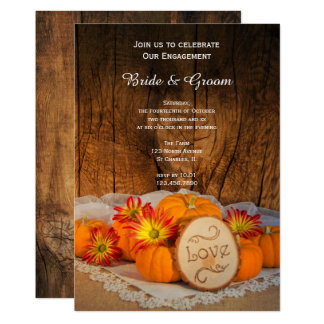 Rustic Pumpkins Fall Engagement Party Invitation