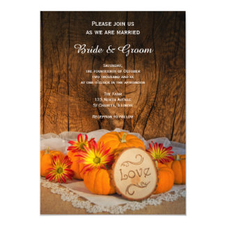 Rustic Pumpkins Fall Wedding Invitation