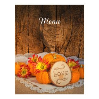Rustic Pumpkins Fall Wedding Menu