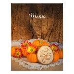 """Rustic Pumpkins Fall Wedding Menu 8.5"""" X 11"""" Flyer"""