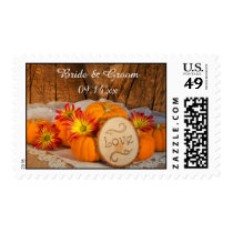 Rustic Pumpkins Fall Wedding Postage Stamp