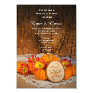 Rustic Pumpkins Fall Wedding Rehearsal Dinner Card