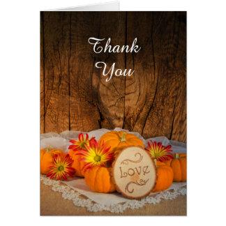 Rustic Pumpkins Fall Wedding Thank You Card