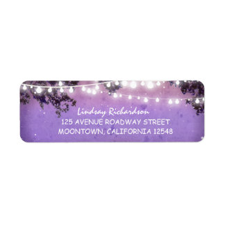 rustic purple address label with string lights