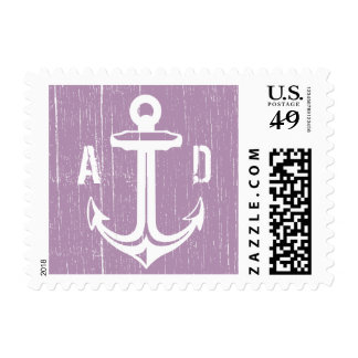 Rustic Purple Anchor Wedding Stamps