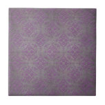 Rustic Purple and Steel Grey Damask Ceramic Tile