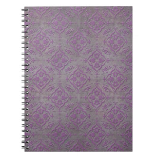 Rustic Purple and Steel Grey Damask Spiral Notebook