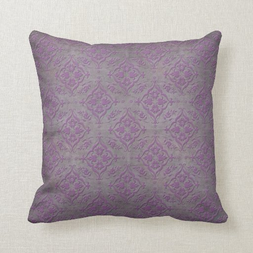 Rustic Purple And Steel Grey Damask Throw Pillows Zazzle