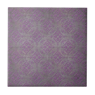 Rustic Purple and Steel Grey Damask Small Square Tile
