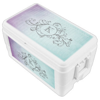 Rustic Purple and Teal Blue Bohemian Flourish Chest Cooler