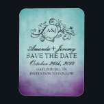 """Rustic Purple and Teal Bohemian Save The Date Magnet<br><div class=""""desc"""">For color requests or matching products to go with this product,  please contact the artist at www.ThePaintingPony.com</div>"""