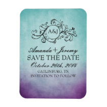 Rustic Purple and Teal Bohemian Save The Date Magnet