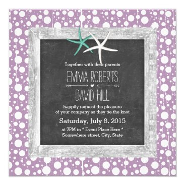 Beach Themed Rustic Purple Bubbles Wood Framed Starfish Wedding Card