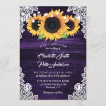 Rustic Purple Burlap Lace Sunflower Wedding Invitation