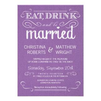 Rustic Purple Burlap Vintage Wedding Invitations
