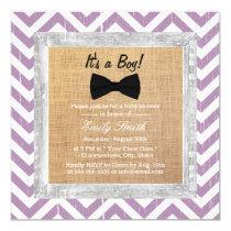 Rustic Purple Chevron Bow Tie Boy Baby Shower Card