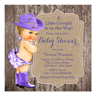 Rustic Purple Cowgirl Baby Shower Card