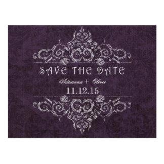 Rustic Purple Damask Vintage Design Save The Date Postcard