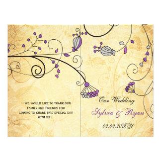 Rustic, purple floral folded, fall Wedding program
