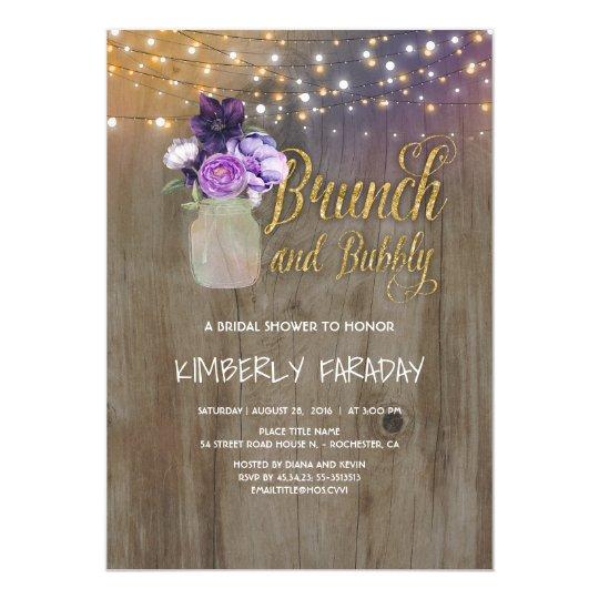 rustic purple floral mason jar bridal shower invitation