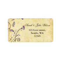 rustic  purple floral ,return address labeld label