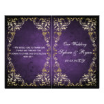 Rustic, purple gold regal bookfold Wedding program Full Color Flyer