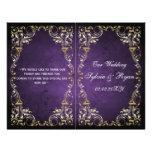 Rustic, purple gold regal bookfold Wedding program Full Color Flyer