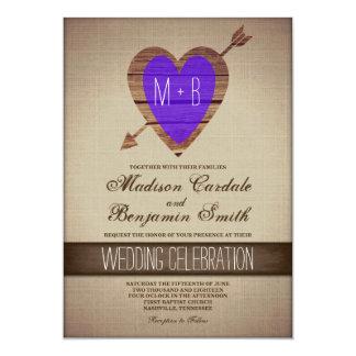 Rustic Purple Heart Arrow Country Wedding Invites