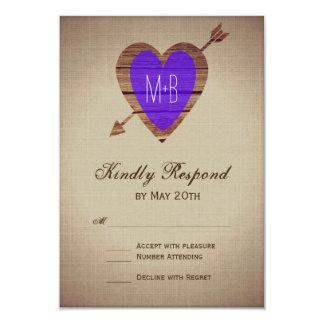 Rustic Purple Heart Arrow Wedding RSVP Cards