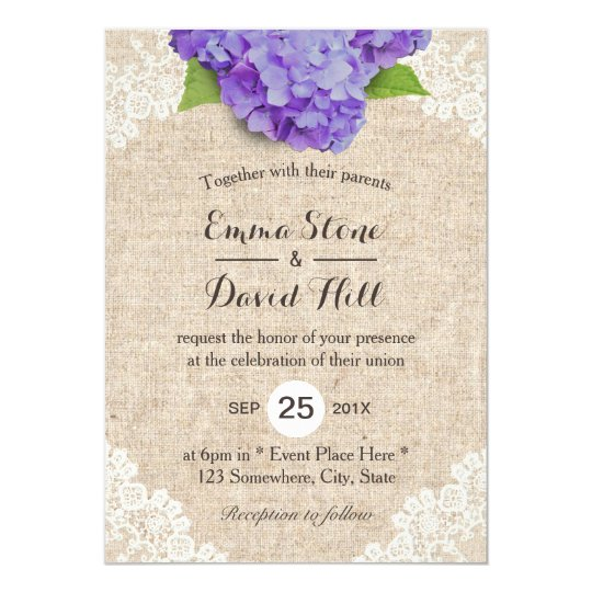 Purple Hydrangea Wedding Invitations with bur