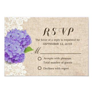 Rustic Purple Hydrangea Lace & Burlap Wedding RSVP Card