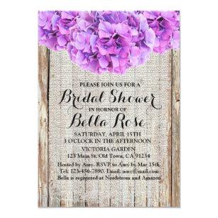 rustic purple hydrangeas bridal shower ph1 invitation