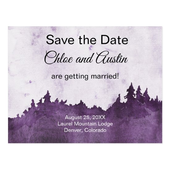 Rustic Purple Jewel Tone Landscape Save The Date Postcard