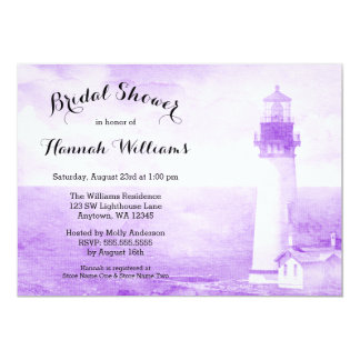 Rustic Purple Lighthouse Bridal Shower Card