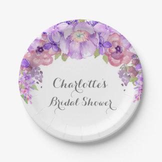 Rustic Purple Lilac Floral Bridal Shower Plate