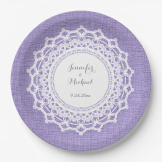 Rustic Purple Linen Look and White Lace Wedding Paper Plate