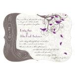"Rustic Purple Love Bird Romantic Tree Wedding 5"" X 7"" Invitation Card"