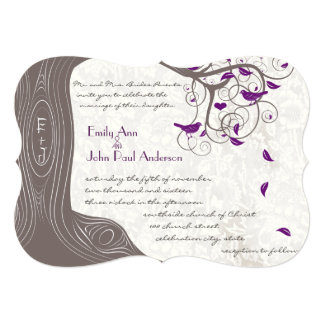 Rustic Purple Love Bird Romantic Tree Wedding Invitations