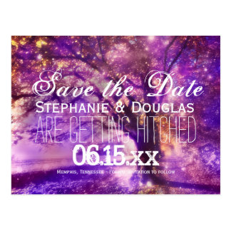 Rustic Purple Oak Tree Save the Date Postcards