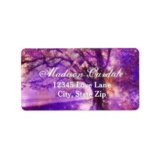 Rustic Purple Oak Tree Wedding Address Labels