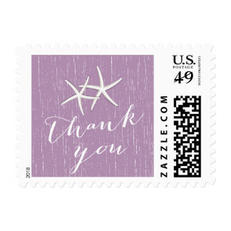 Rustic Purple Pair of Starfish Wedding Thank You Postage