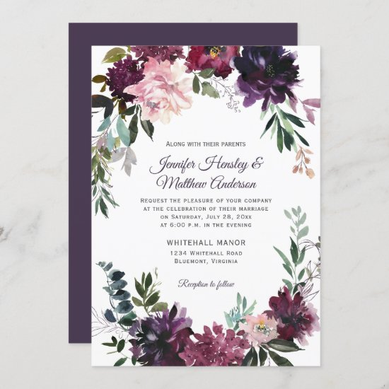 Rustic Purple Pink Mauve Red Floral Wreath Wedding Invitation