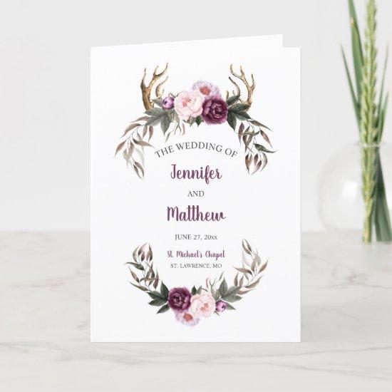 Rustic Purple Plum Peonies Antlers Wedding Program
