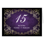 rustic purple regal wedding table seating card