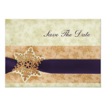 rustic purple snowflake save the date announcement