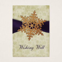 rustic purple snowflake wishing well cards