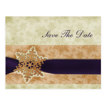 rustic purple snowflakes save the date postcard