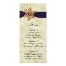 rustic purple snowflakes winter wedding menu