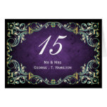rustic purple teal regal wedding table seating greeting card